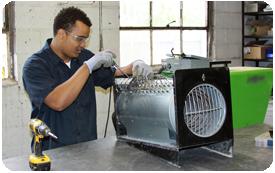 David Fixing an Indoor Heating Unit for Rent